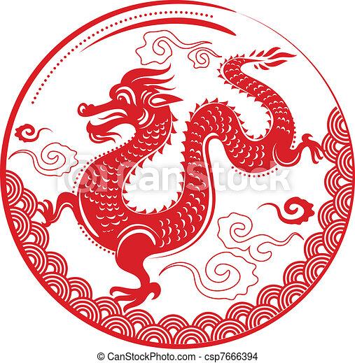 feuerdrachen, neu , chinesisches , jahr - csp7666394