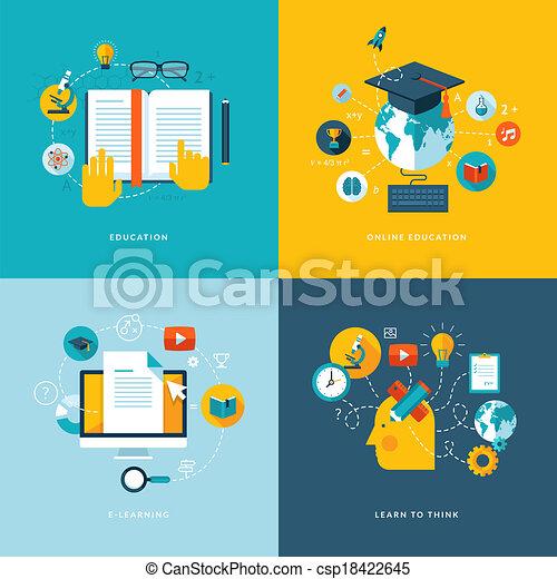 Flat concept Icons für Bildung - csp18422645