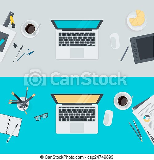 Flat design concepts for workspace - csp24749893