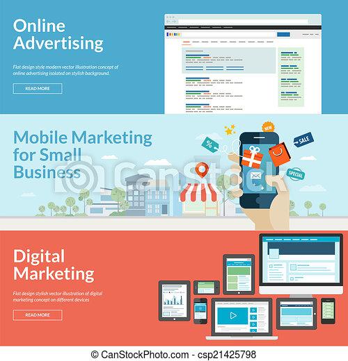Flat Design Konzepte für Marketing - csp21425798