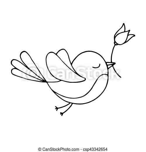 fliegender vogel mit einer blume auf weißem hintergrund