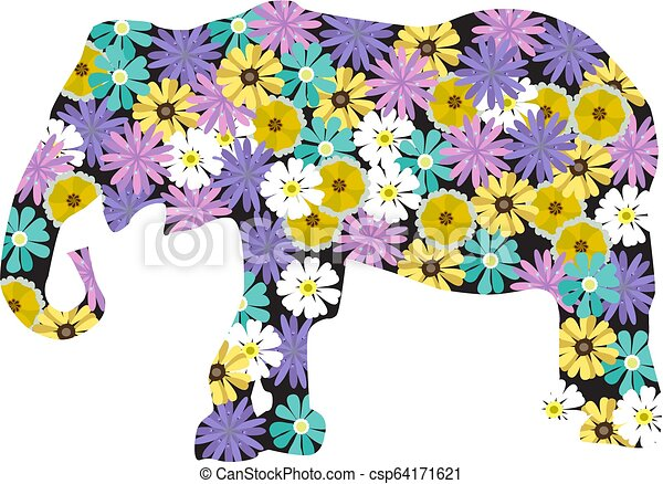 Floral Elefant. - csp64171621