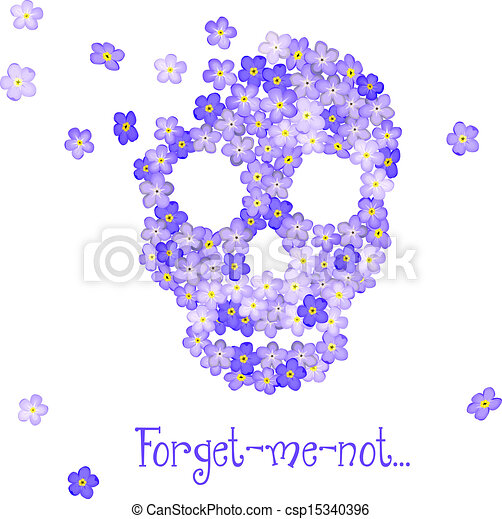 Floraler menschlicher Schädel. - csp15340396