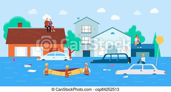 flut, betrieb, vektor, mannschaft, portion, wohnung, leute, illustration., rettung, nach - csp84252513