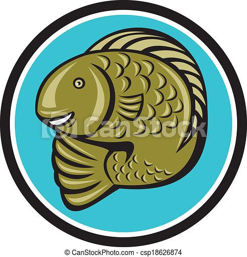forelle, fische, springende , kreis, karikatur - csp18626874