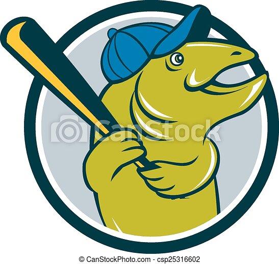 Troutfisch-Baseball-Batting-Kreis Cartoon - csp25316602