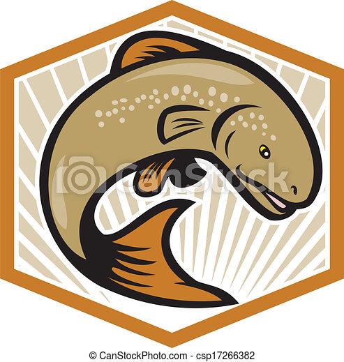 Trout springen Zeichenschild - csp17266382