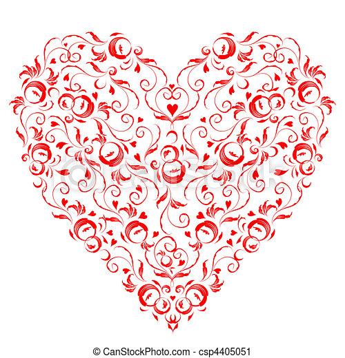 Herzform, Blumenschmuck für dein Design - csp4405051