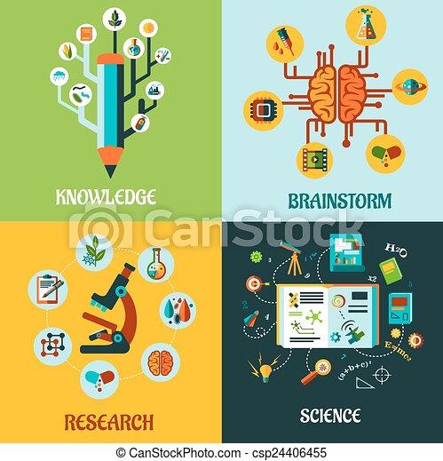 Forschung, Wissenschaft und Gehirnsturm flache Konzepte. - csp24406455