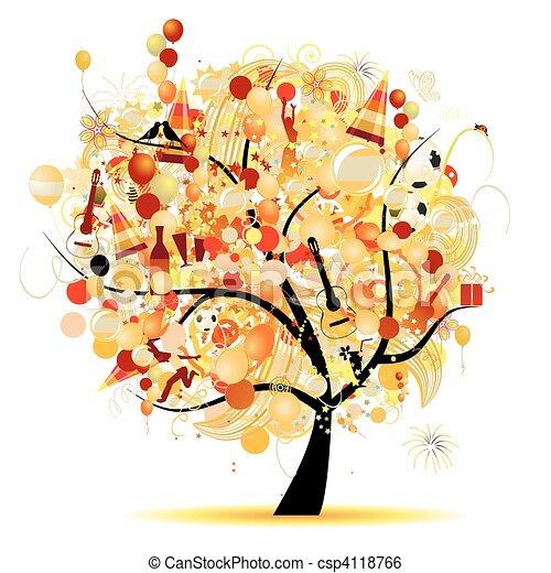 Fröhliche Feier, lustiger Baum mit Feiertagssymbolen - csp4118766