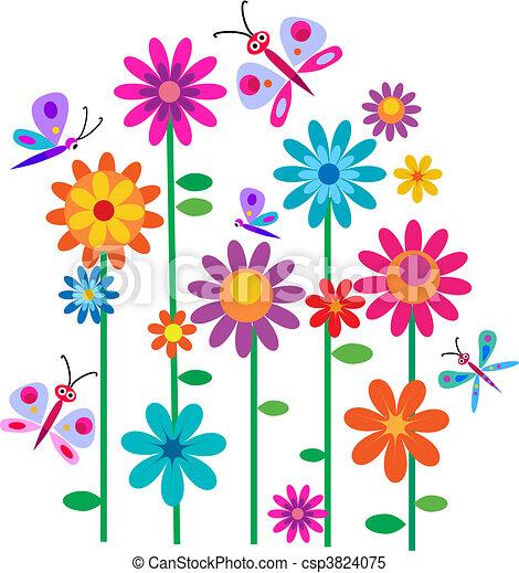 Frühlingsblumen und Schmetterlinge - csp3824075