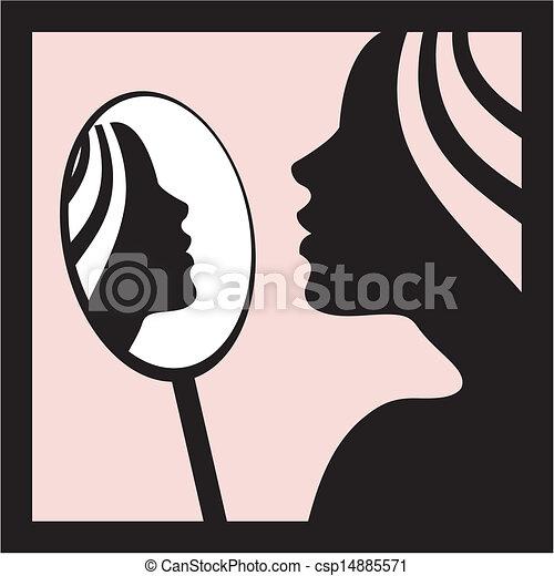Frau mit Spiegelvektor - csp14885571