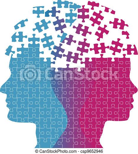 frau, puzzel, verstand, gedanke, gesichter, problem, mann - csp9652946