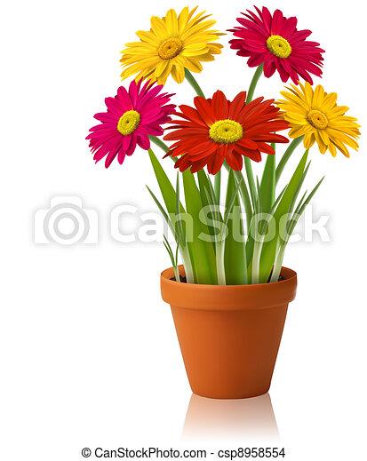 Frische Frühlingsfarbe, Blumenvektor - csp8958554