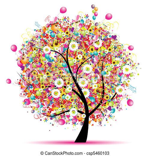 Frohe Feiertage, lustiger Baum mit Ballons. - csp5460103