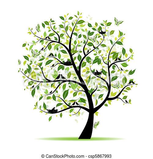 Frühlingsbaumgrün mit Vögeln für dein Design - csp5867993