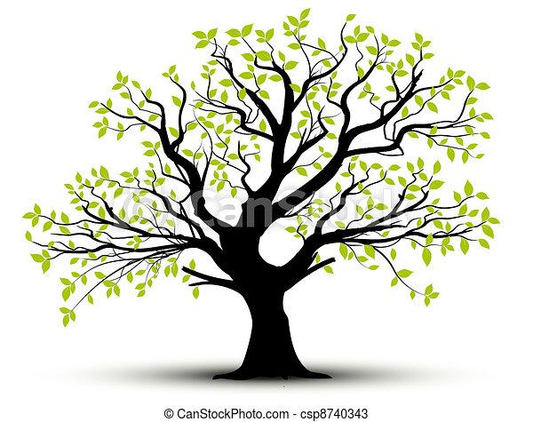 Vector - Frühlingsbaum und Blätter - csp8740343