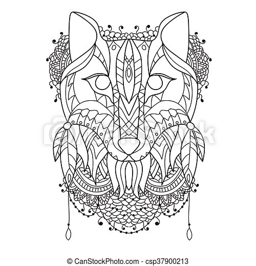 Fuchsmuster Stil zentangl. - csp37900213