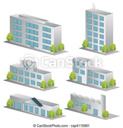 3D Gebäude-Ikonen bereit - csp4115981