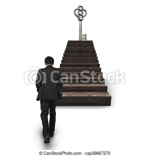 gehen, oberseite, schatz, schlüssel, gegen, treppe, mann - csp39667270