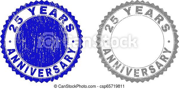 Tätigt 25 JAHRE ANNIVERSARY kratzte Briefmarken mit Schleife - csp65719811