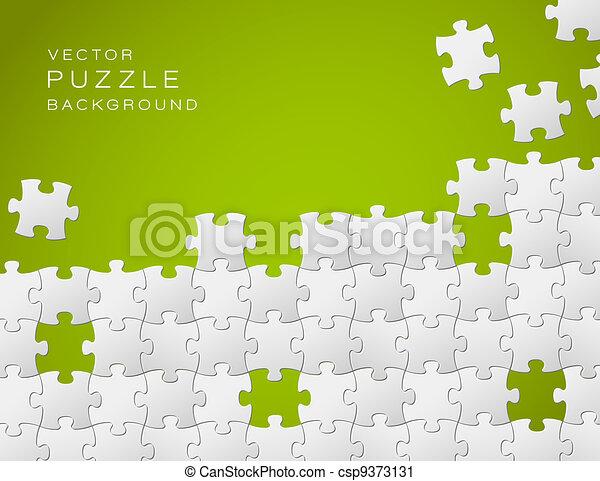 Vektorgrüner Hintergrund aus weißen Puzzlestücken - csp9373131
