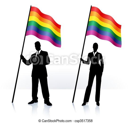 Geschäftliche Silhouette mit Flagge des Gay Pride - csp3517358