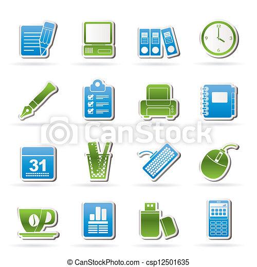 Geschäfts- und Büroausrüstungs-Ikonen - csp12501635