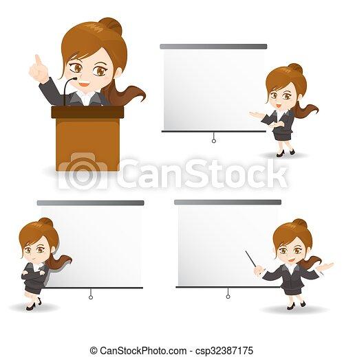 Geschäftsfrau anwesend. - csp32387175