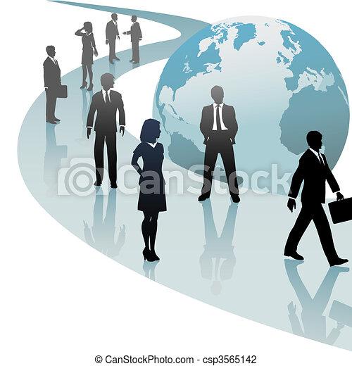 Geschäftsleute auf dem Weg der künftigen Welt - csp3565142