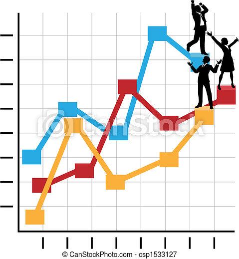 Geschäftsleute feiern den Erfolg auf der Wachstumskarte - csp1533127