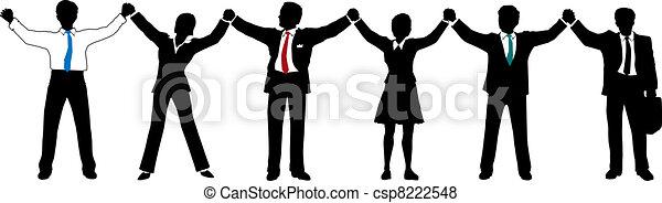 geschäftsmenschen, mannschaft, auf, hände, linie, halten - csp8222548