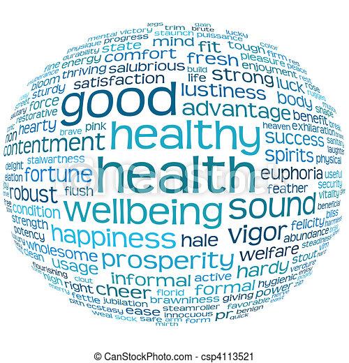 gesundheit, guten, wellbeing, wolke, etikett - csp4113521