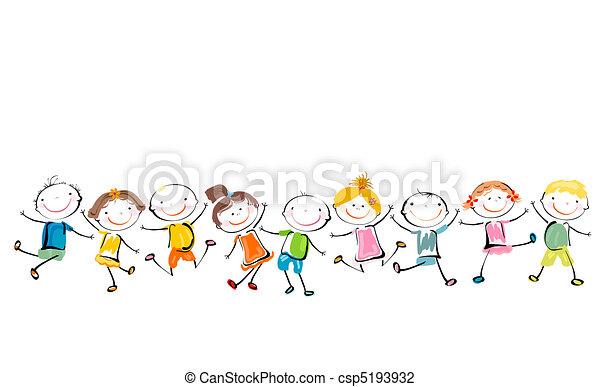 glücklich, kinder, spielende  - csp5193932