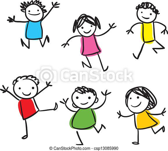 Glückliche Kinder springen - csp13085990