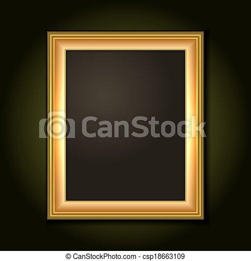 Gold-Bildrahmen mit dunkler Leinwand - csp18663109