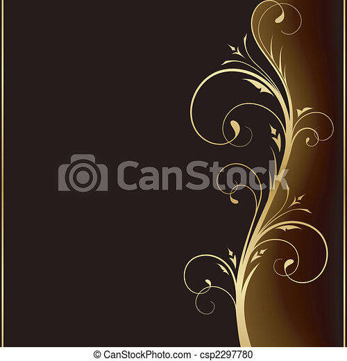 Elegant dunkler Hintergrund mit goldenen Blumenmusterelementen - csp2297780