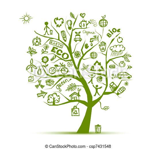 Grünes Ökologiebaumkonzept für Ihr Design. - csp7431548