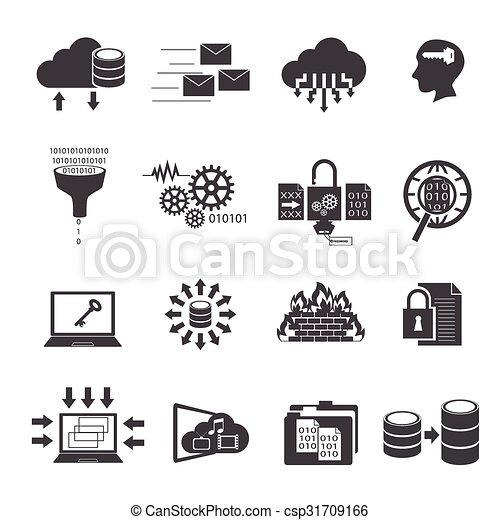 Große Daten-Icons gesetzt, Cloud Computing - csp31709166