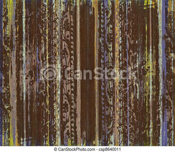 Grungy braune Schriftrolle, Holzstreifen - csp8640011
