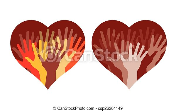 Herzen mit vielen helfenden Händen - csp26284149