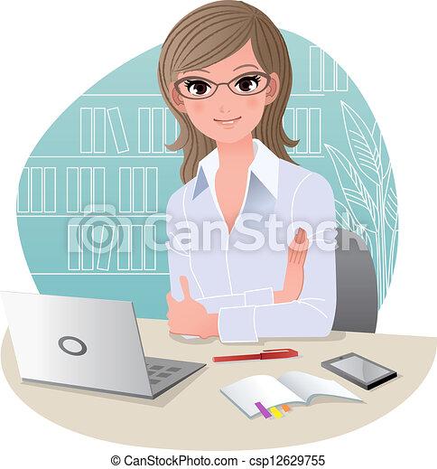 Hübsche Geschäftsfrau im Büro - csp12629755