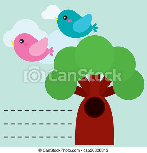 Hübsche Vögel mit Baum. - csp20328313