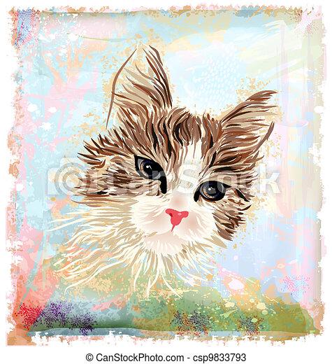Hand gemaltes Porträt der flauschigen Katze - csp9833793