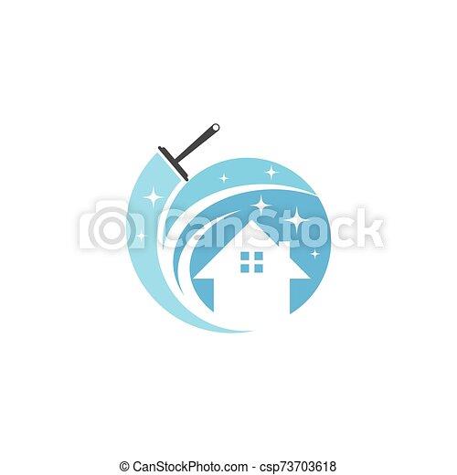 haus, logo, reiniger, vektor - csp73703618
