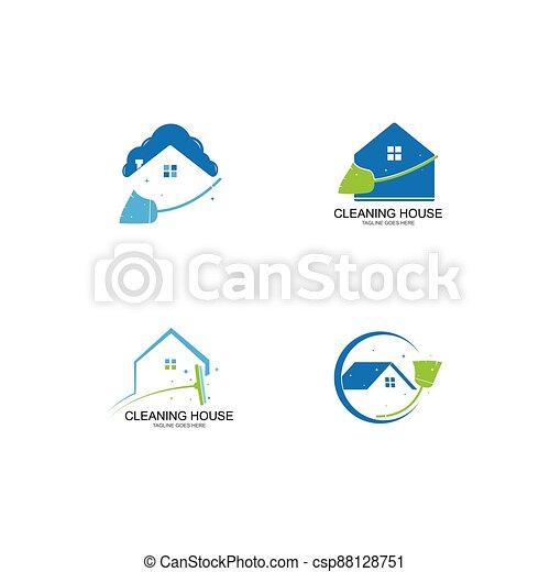 haus, reiniger, logo - csp88128751
