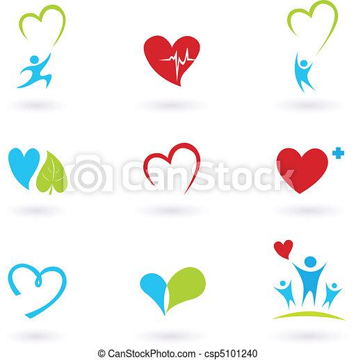 Gesundheit und medizinische Ikonen auf weiß - csp5101240