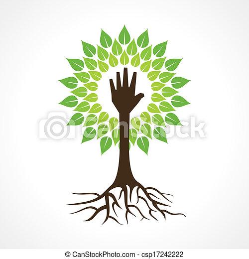 Hilft Hand zu machen Baum - csp17242222