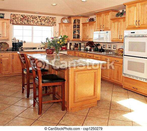 Helle, lockere, moderne Küche - csp1250279