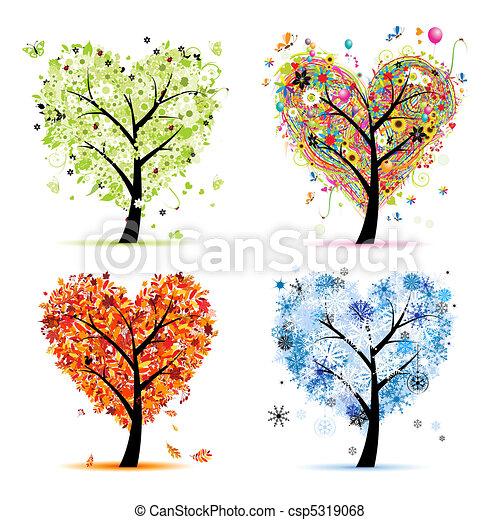 herz, baum, dein, fruehjahr, jahreszeiten, winter., -, herbst, sommer, kunst, vier, design, form - csp5319068